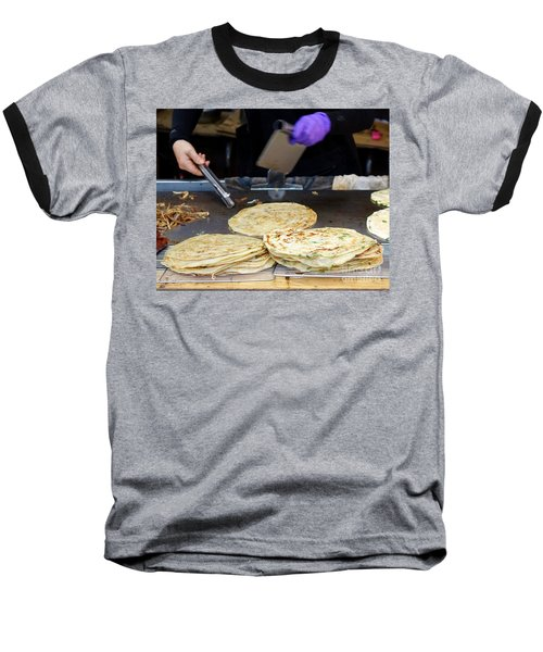 Baseball T-Shirt featuring the photograph Chinese Street Vendor Cooks Onion Pancakes by Yali Shi