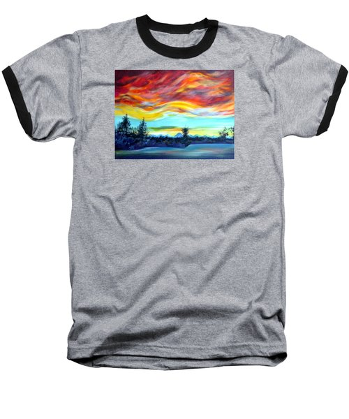 Chinook Arch Over Bow River Baseball T-Shirt by Anna  Duyunova