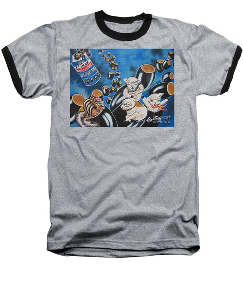 Baseball T-Shirt featuring the painting Chip And Dip In Space Olives by Sigrid Tune