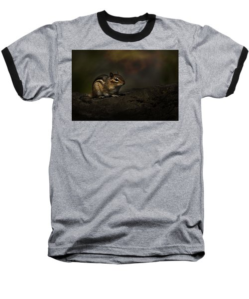 Baseball T-Shirt featuring the photograph Chipmunk On Rock by Michael Cummings