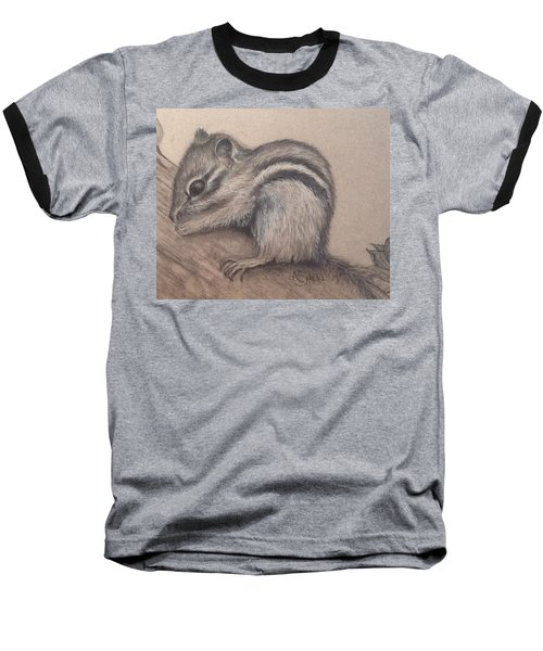 Baseball T-Shirt featuring the drawing Chipmunk, Tn Wildlife Series by Annamarie Sidella-Felts