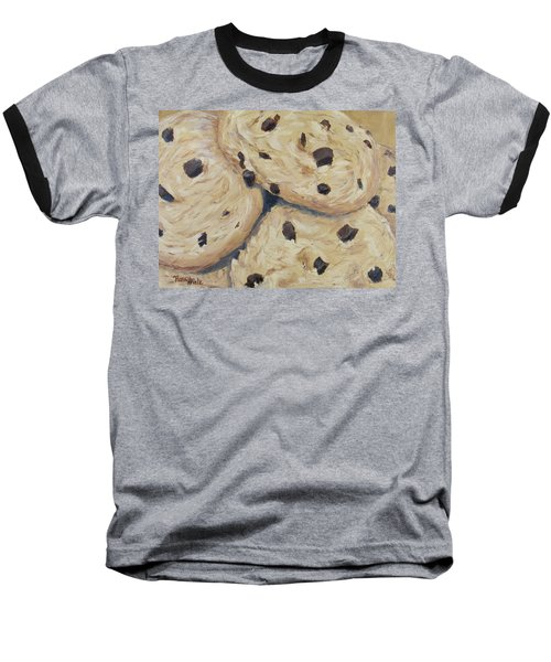 Baseball T-Shirt featuring the painting Chocolate Chip Cookies by Nancy Nale
