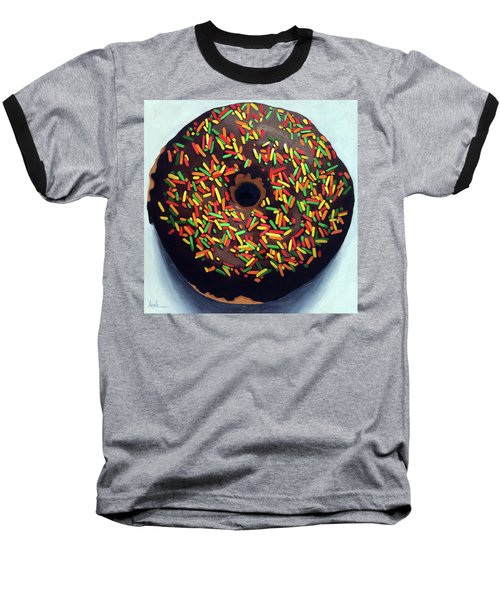 Baseball T-Shirt featuring the painting Chocolate Donut And Sprinkles Large Painting by Linda Apple