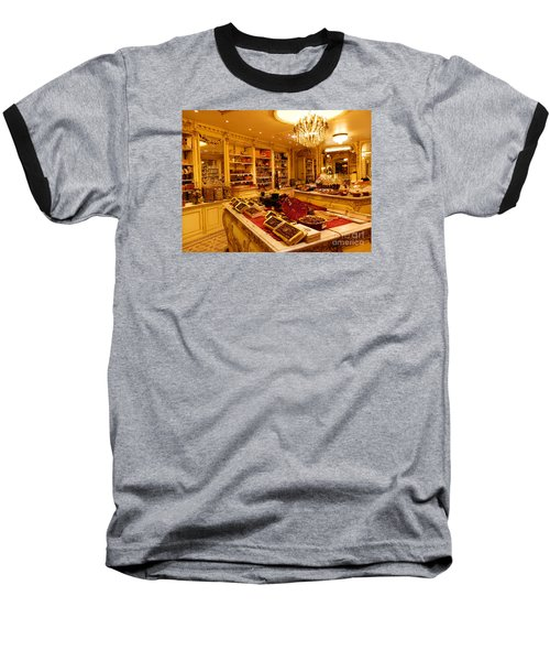 Chocolate Shop Baseball T-Shirt by Margaret Brooks