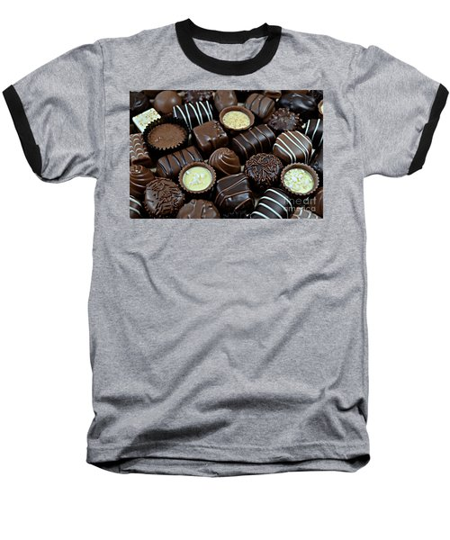 Chocolates Baseball T-Shirt by Vivian Krug Cotton