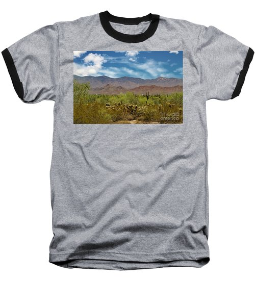 Cholla Saguaro And The Mountains Baseball T-Shirt by Anne Rodkin