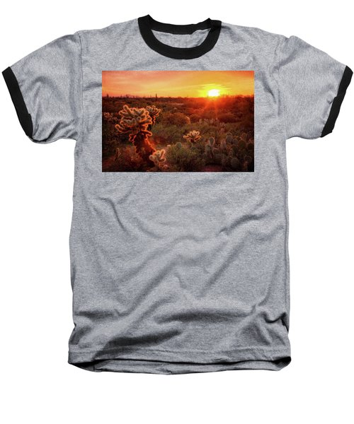 Baseball T-Shirt featuring the photograph Cholla Sunset In The Sonoran  by Saija Lehtonen