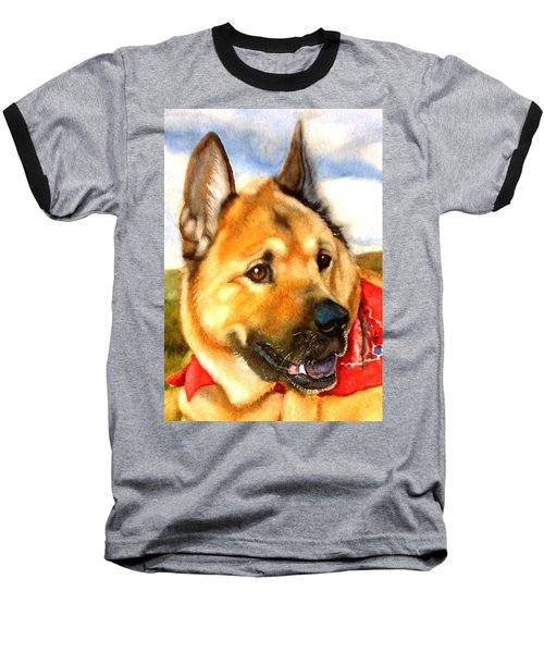 Baseball T-Shirt featuring the painting Chow Shepherd Mix by Marilyn Jacobson