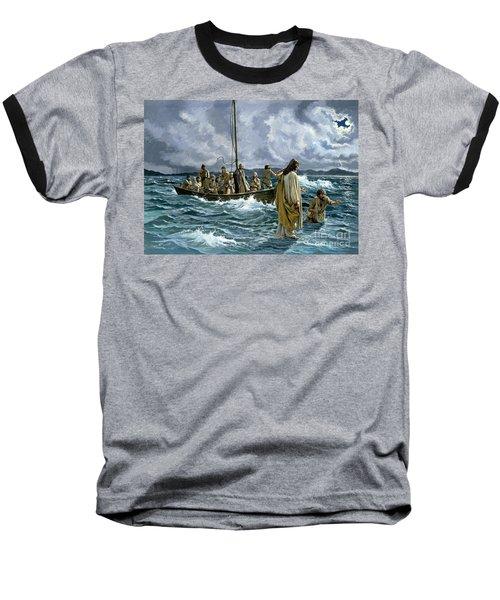Christ Walking On The Sea Of Galilee Baseball T-Shirt