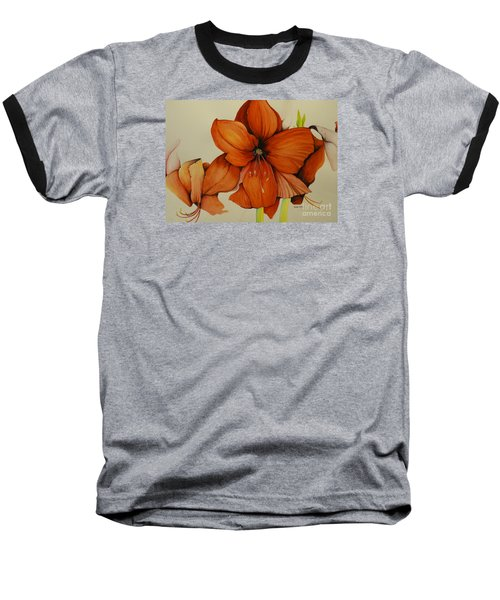 Baseball T-Shirt featuring the painting Christmas Amaryllis by Rachel Lowry