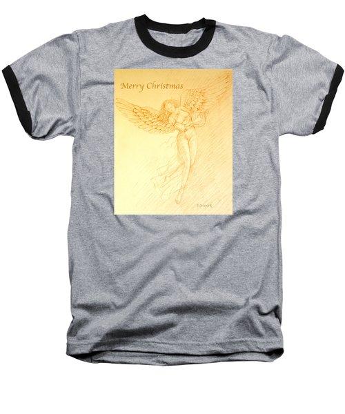 Christmas Angel With Harp Baseball T-Shirt by Deborah Dendler