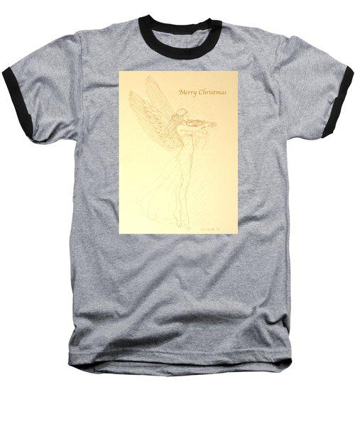 Christmas Angel With Violin Baseball T-Shirt by Deborah Dendler