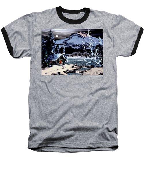 Christmas At The Lake V2 Baseball T-Shirt by Ron Chambers