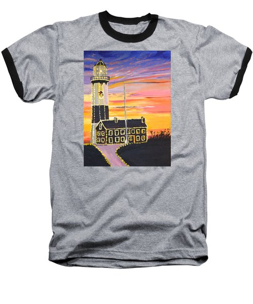 Christmas At The Lighthouse Baseball T-Shirt
