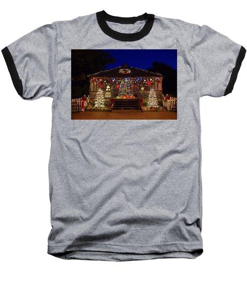 Christmas At The Lighthouse Gazebo Baseball T-Shirt by Greg Graham