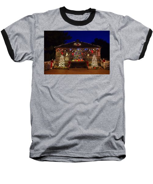 Christmas At The Lighthouse Gazebo Baseball T-Shirt