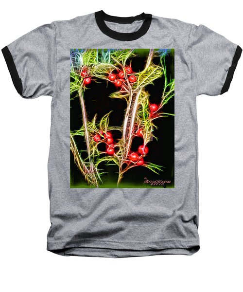 Baseball T-Shirt featuring the photograph Christmas Berries by EricaMaxine  Price