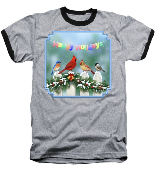 Christmas Birds And Garland Baseball T-Shirt by Crista Forest
