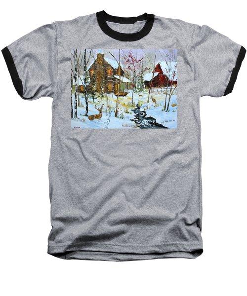 Christmas Cabin Baseball T-Shirt