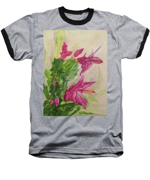 Baseball T-Shirt featuring the painting Christmas Cactus by Wendy Shoults