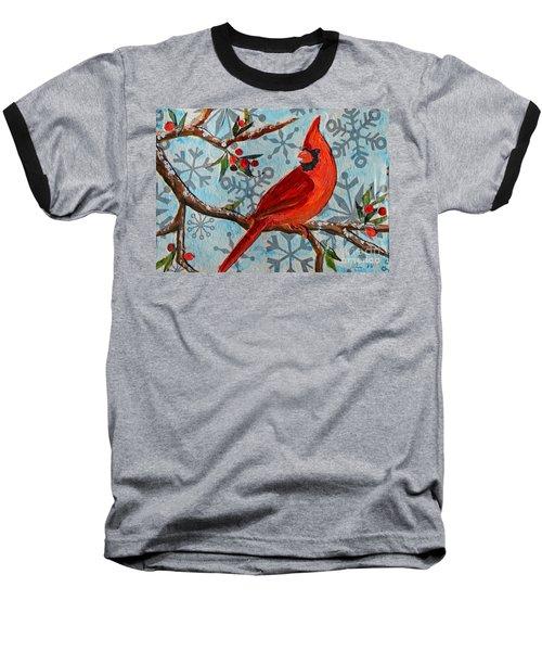 Christmas Cardinal Baseball T-Shirt by Li Newton