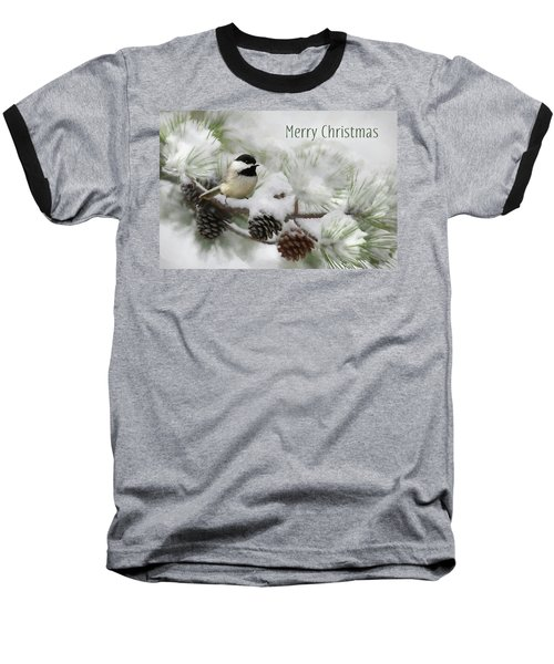 Baseball T-Shirt featuring the photograph Christmas Chickadee by Lori Deiter