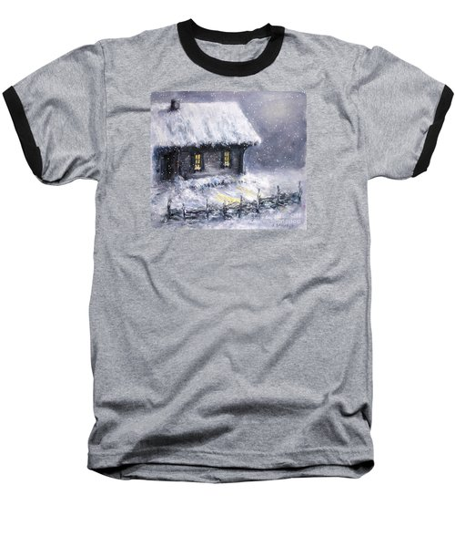 Baseball T-Shirt featuring the painting Christmas Eve by Arturas Slapsys