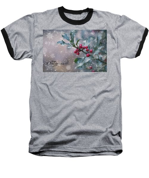 Christmas Holly Baseball T-Shirt