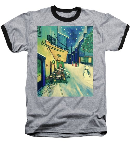 Baseball T-Shirt featuring the painting Christmas Homage To Vangogh by Victoria Lakes