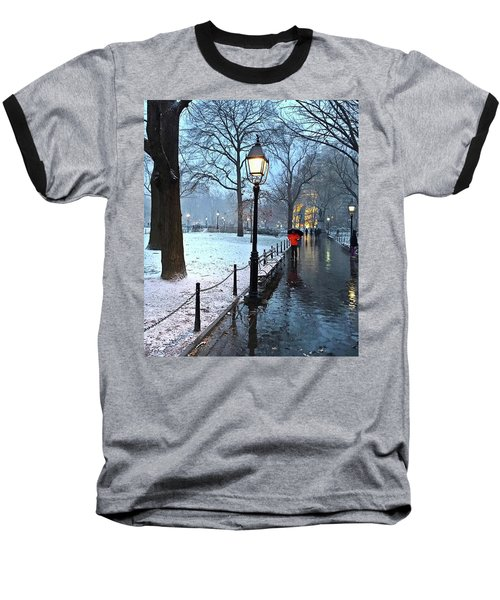 Christmas In Central Park Baseball T-Shirt