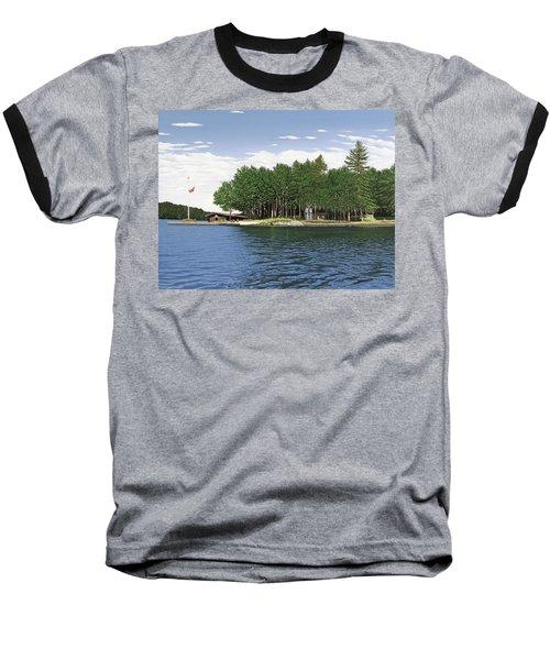 Baseball T-Shirt featuring the painting Christmas Island Muskoka by Kenneth M Kirsch