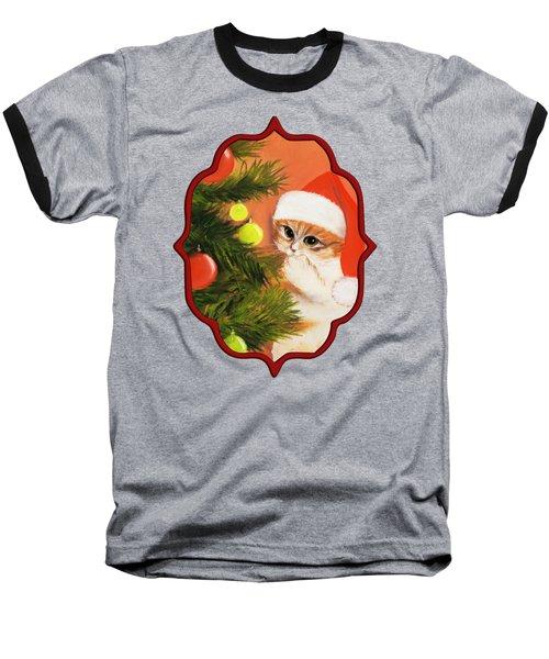 Christmas Kitty Baseball T-Shirt