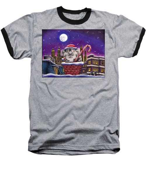 Christmas Koala In Chimney Baseball T-Shirt by Remrov