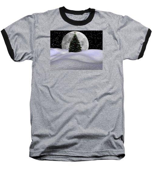 Christmas Moon Baseball T-Shirt by Michele Wilson
