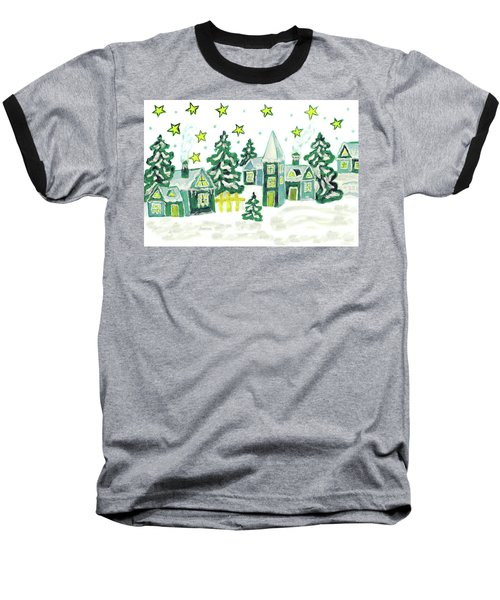 Christmas Picture In Green Baseball T-Shirt by Irina Afonskaya