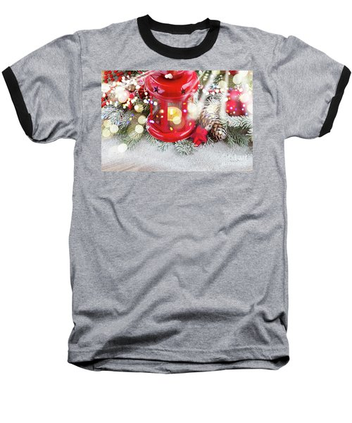 Christmas Red Lantern  Baseball T-Shirt