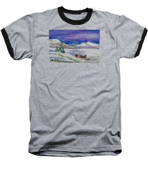 Baseball T-Shirt featuring the painting Christmas Sleigh by Dawn Senior-Trask