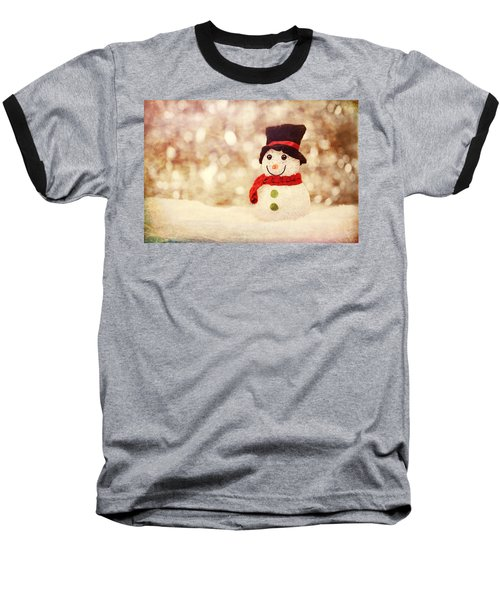 Baseball T-Shirt featuring the photograph Christmas Snowman by Bellesouth Studio