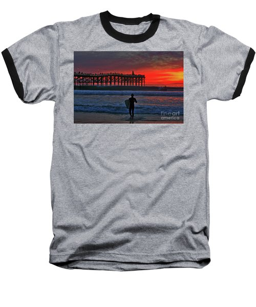 Christmas Surfer Sunset Baseball T-Shirt