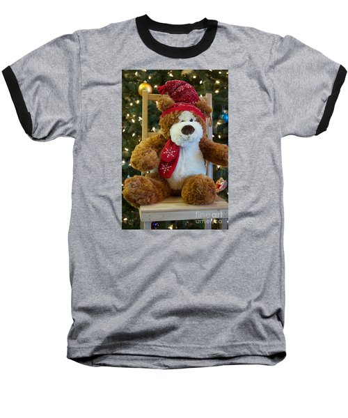 Christmas Teddy Bear Baseball T-Shirt by Vinnie Oakes