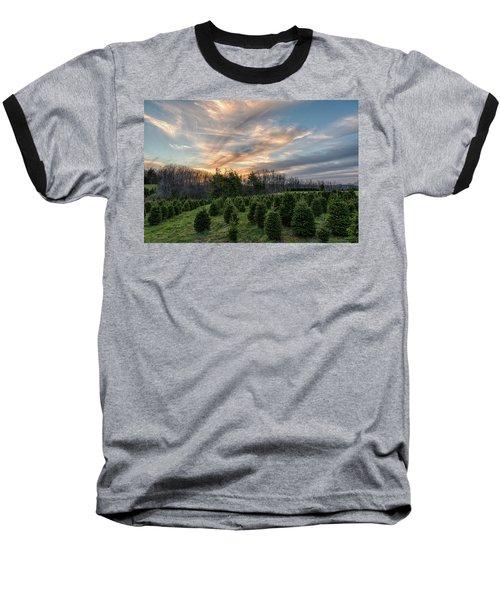 Christmas Tree Farm Sunset Baseball T-Shirt