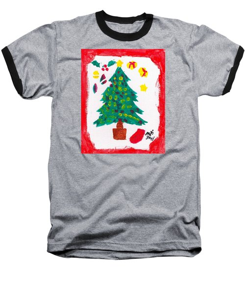 Baseball T-Shirt featuring the painting Christmas Tree by Artists With Autism Inc