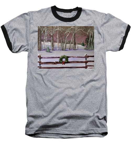 Christmas Wreath On Fence  Baseball T-Shirt