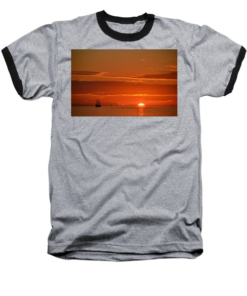 Christopher Columbus Replica Wooden Sailing Ship Nina Sails Off Into The Sunset Baseball T-Shirt