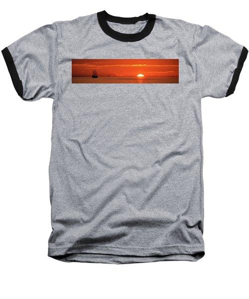 Christopher Columbus Sailing Ship Nina Sails Off Into The Sunset Panoramic Baseball T-Shirt