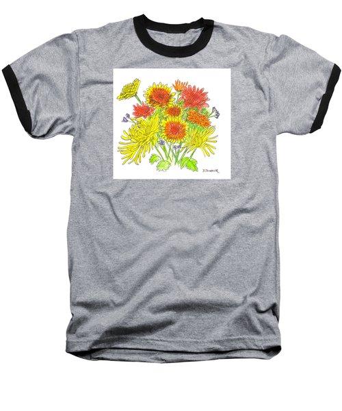 Chrysanthemums Baseball T-Shirt by Deborah Dendler