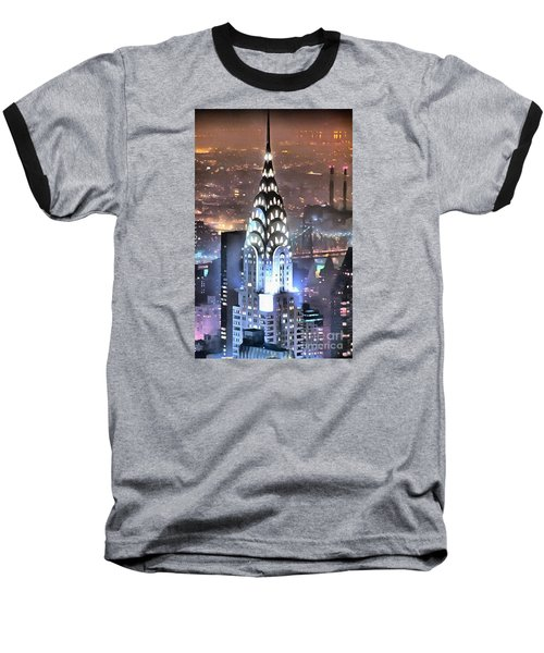 Baseball T-Shirt featuring the digital art Chrysler Building At Night by Mick Flynn