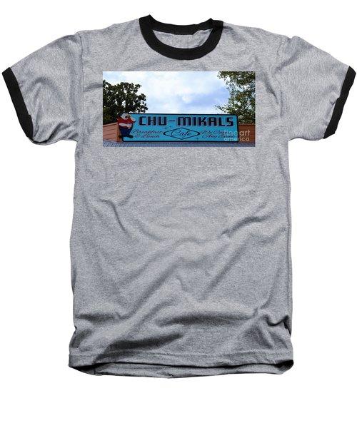 Chu - Mikals - Friendly Austin Texas Charm Baseball T-Shirt by Ray Shrewsberry