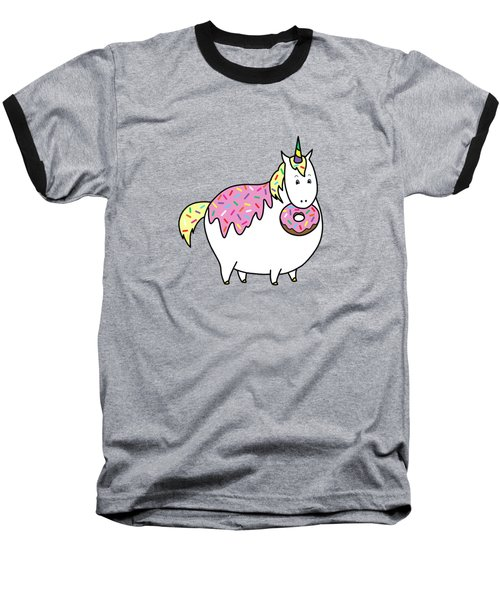 Chubby Unicorn Eating Sprinkle Doughnut Baseball T-Shirt
