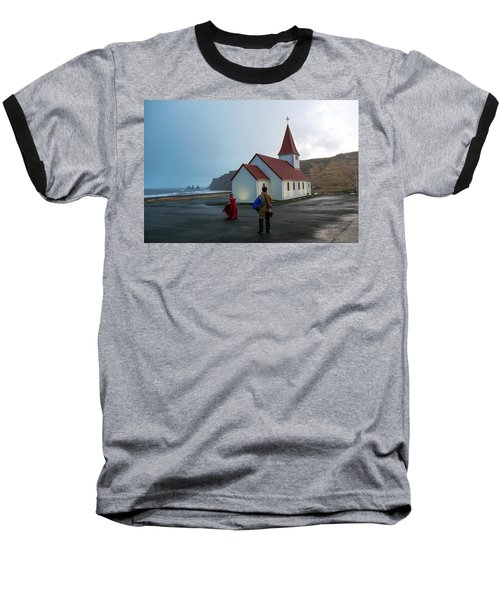 Baseball T-Shirt featuring the photograph Church Above Reynisfjara Black Sand Beach, Iceland by Dubi Roman